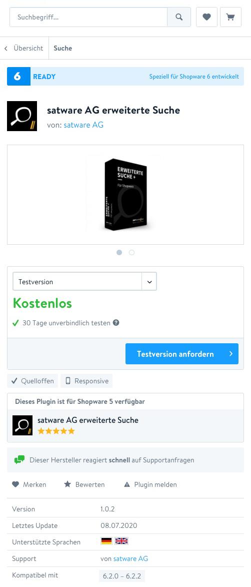 Shopware-Plugin satware AG erweiterte Suche