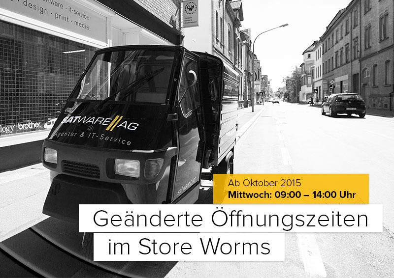 Geänderte Öffnungszeiten im Store Worms