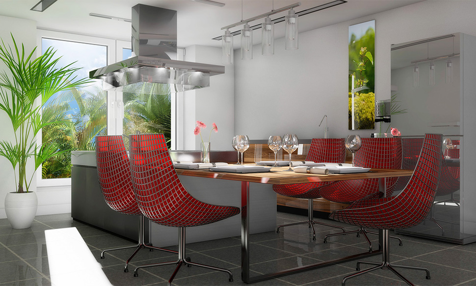 Küche mit roten Stühlen