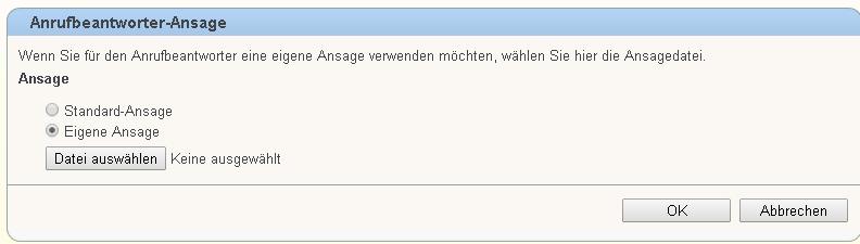 Fritz Ansage hochladen für AB